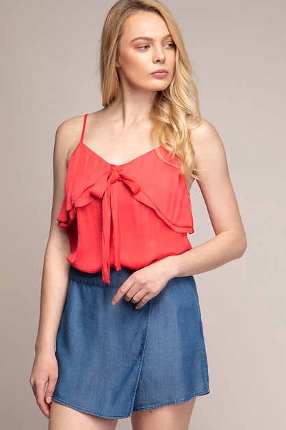 V-NECK DOUBLE LAYER RUFFLE CAMI - orangeshine.com