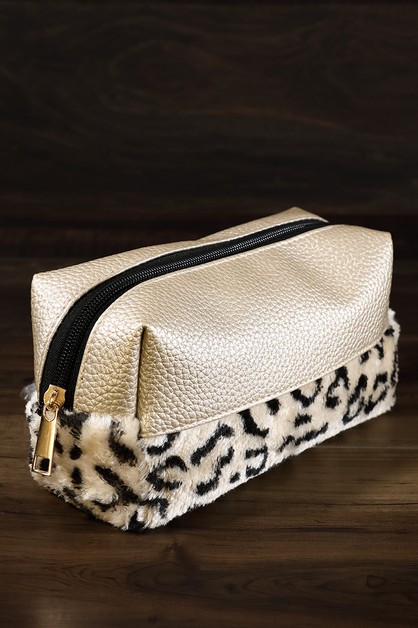 Plush  Pebble Leopard Makeup Bag - orangeshine.com