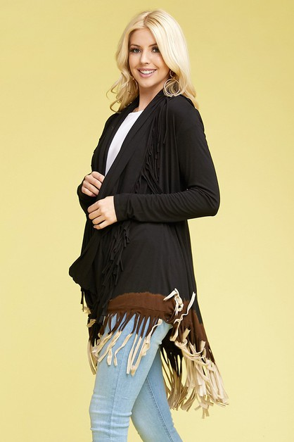 TRI COLOR DIP DYE FRINGES CARDIGAN - orangeshine.com