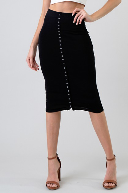 SNAP TAPE MIDI SKIRT  - orangeshine.com