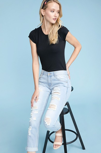 DISTRESSED BOYFRIEND JEANS - orangeshine.com
