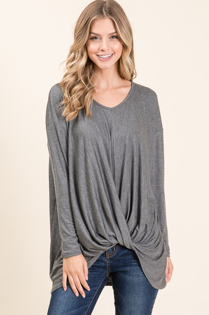 LOOSE FIT V-NECK LONG SLEEVE TOP - orangeshine.com