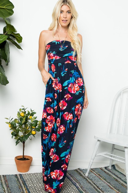 Strapless Floral Maxi Dress - orangeshine.com