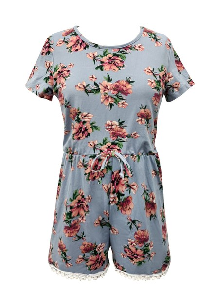 Girls Aqua Floral Rompers Kids Dress - orangeshine.com
