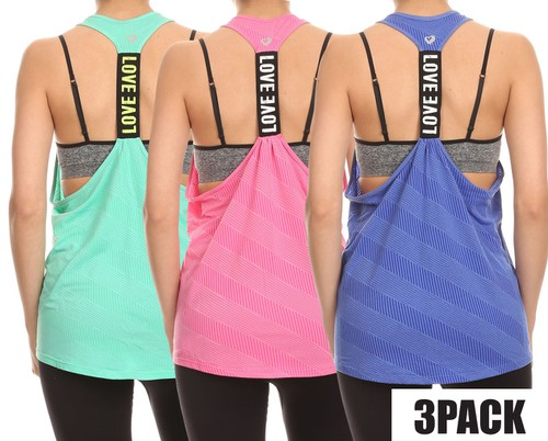 3 packs Activewear Sports Tank Tops  - orangeshine.com