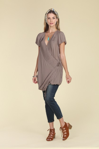Woven Cross Over V Neck Wrap Dress  - orangeshine.com