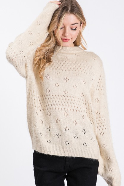 SOLID PATTERNED KNITTING SWEATER - orangeshine.com