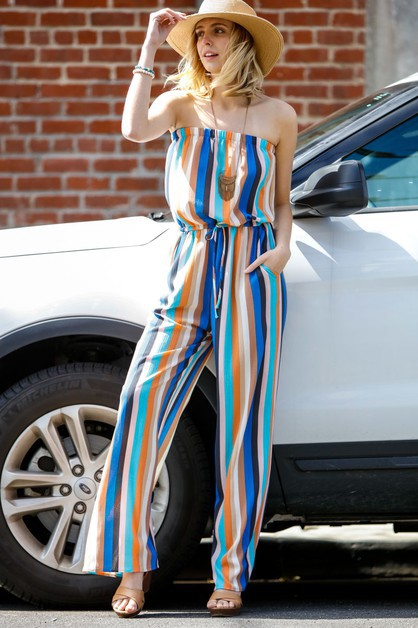 Vertical multistriped jumpsuit with  - orangeshine.com