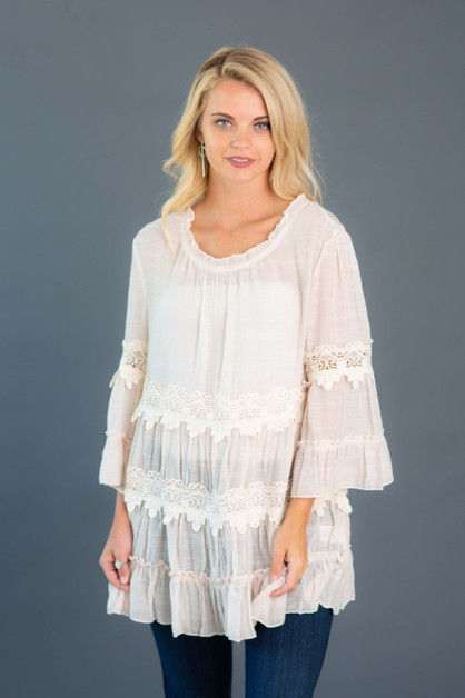 Crochet Trim Tiered Tunic - orangeshine.com