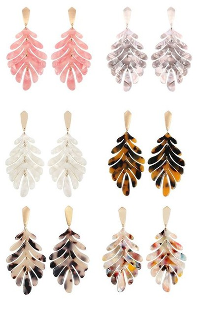 CAST RESIN LEAF DROP EARRINGS - orangeshine.com