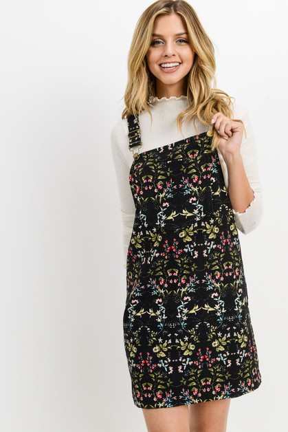 Corduroy Floral Overall Dress - orangeshine.com