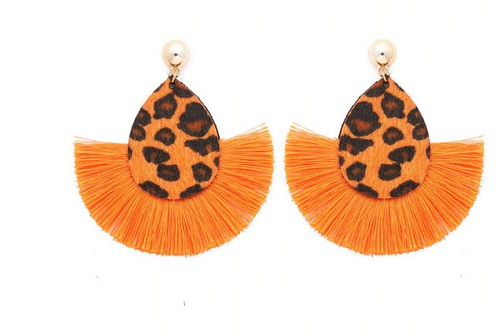 Leopard Fringe Tassel Earrings - orangeshine.com