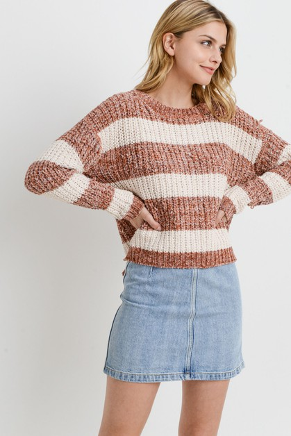 Striped Knit Long Sleeves Sweater - orangeshine.com