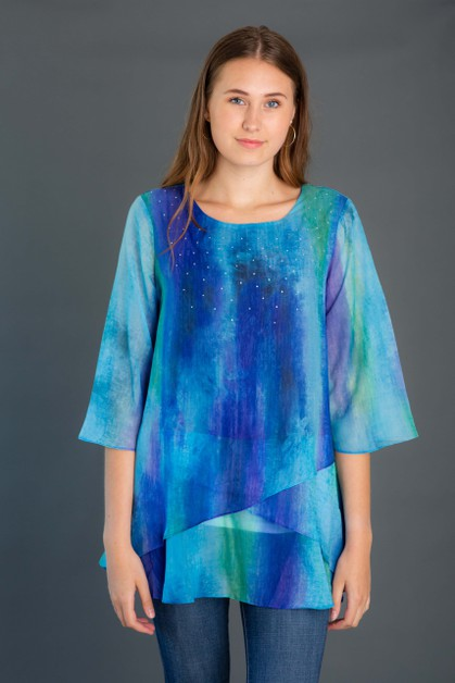 Criss Cross Chiffon Tunic - orangeshine.com