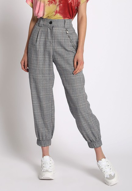 PLAID JOGGERS WITH CHAIN - orangeshine.com