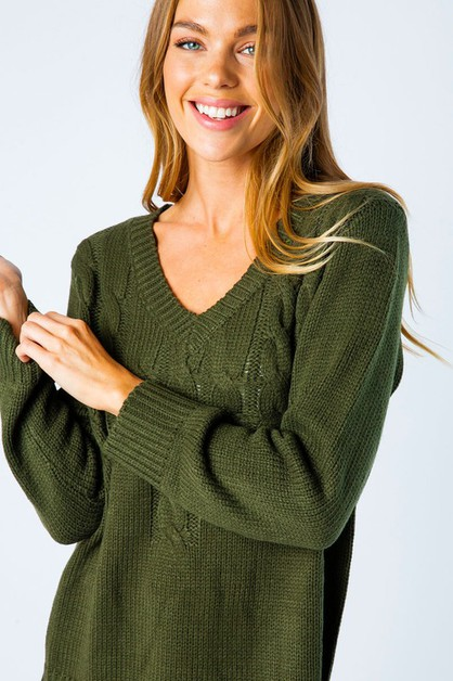BRAIDED CHUNKY KNIT PULLOVER SWEATER - orangeshine.com