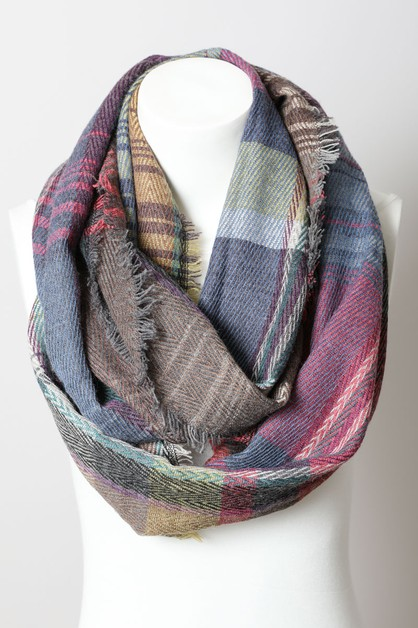 Plaid Frayed Infinity Scarf - orangeshine.com