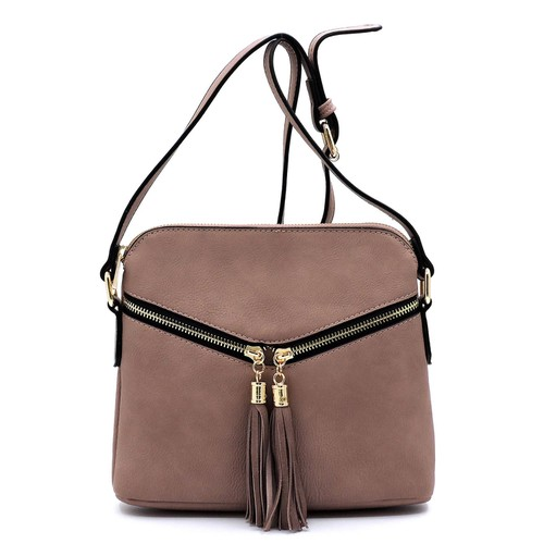 Fashion Zip Tassel Crossbody Bag - orangeshine.com