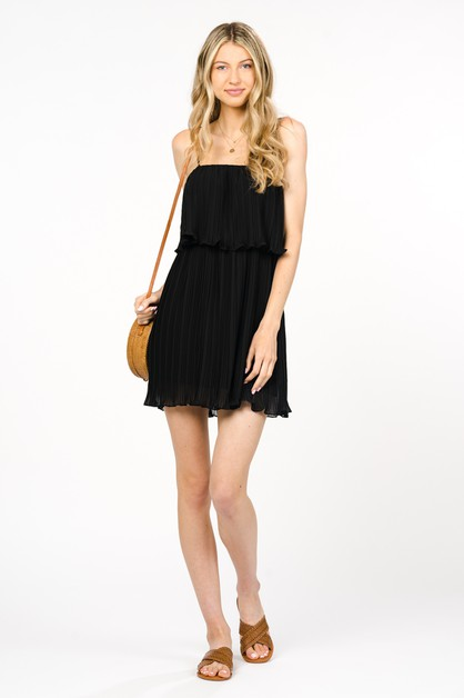 PLEATED DRESS WITH LINING         - orangeshine.com