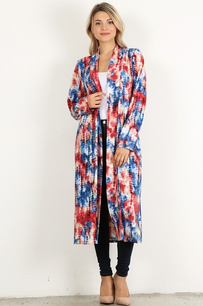 tie dye open loose fit cardigan - orangeshine.com