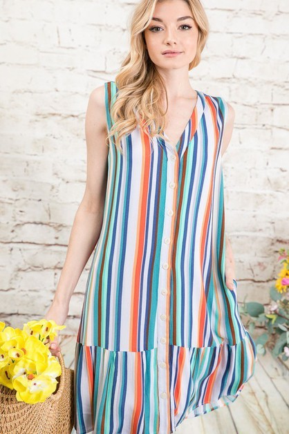 VIVID RAINBOW STRIPED A-LINE DRESS - orangeshine.com