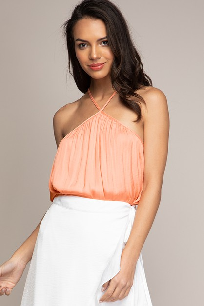 HALTER HIGH NECK SWING TOP  - orangeshine.com