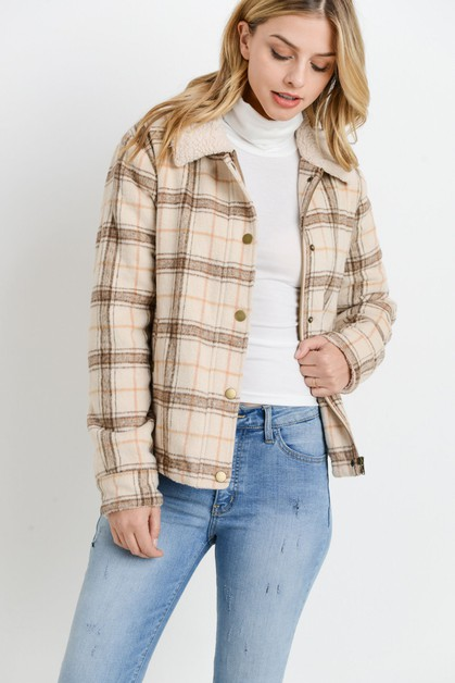 Plaid Button Down Fur Lined Jacket - orangeshine.com