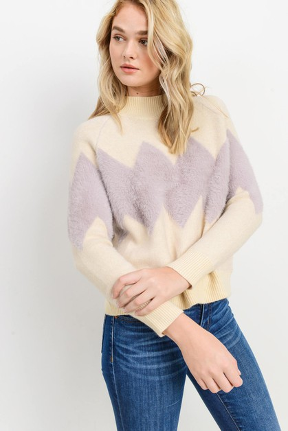 Knit Chevron Sweater - orangeshine.com