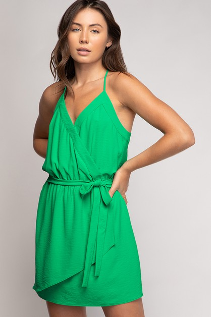 STRAPPY MINI BANDED SURPLICE DRESS - orangeshine.com