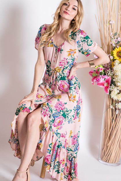 VINTAGE FLORAL HI-LO MAXI DRESS - orangeshine.com