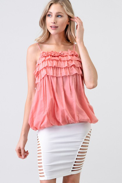 RUFFLE LAYERED BLOUSON SLEEVELESS TO - orangeshine.com