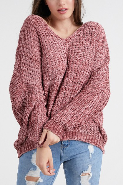 Chenille Knit Sweater Top - orangeshine.com