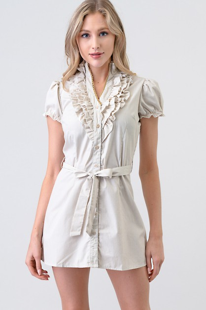 FRONT RUFFLE TIE WAIST TUNIC DRESS - orangeshine.com