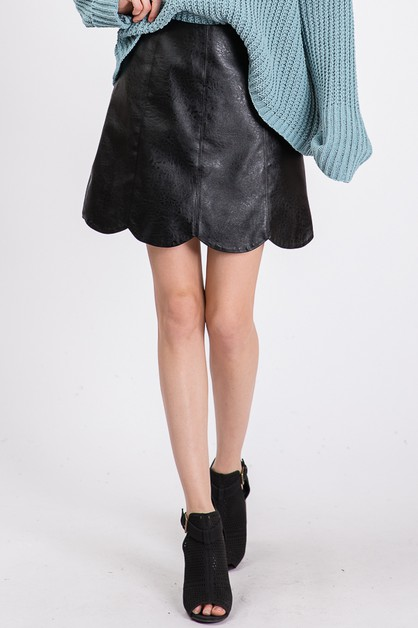 SCALLOP  LEATHER SKIRTS - orangeshine.com