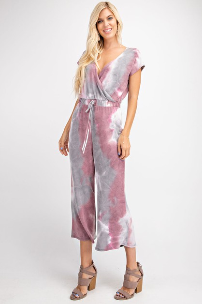 TIE DYE WASHED FRENCH TERRY JUMPSUIT - orangeshine.com