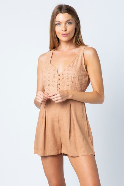SLEEVELESS BUTTON DOWN BRODERIE ANGL - orangeshine.com