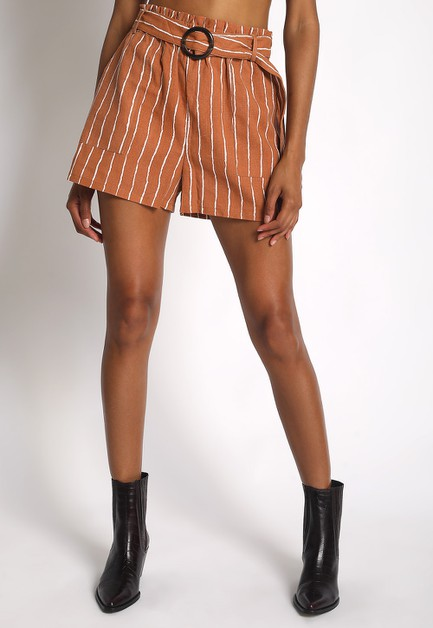 STRIPED LINEN SHORTS - orangeshine.com