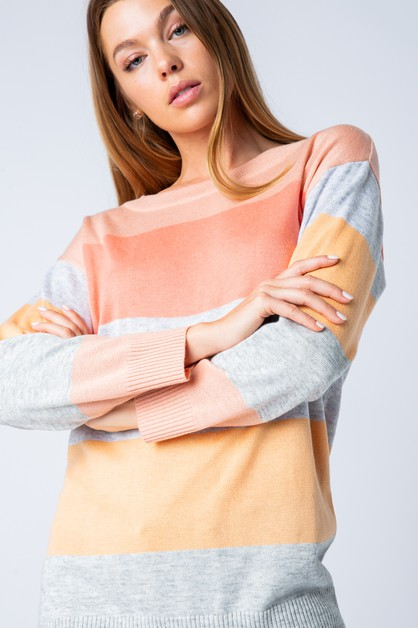 COLOR BLOCK SOFT SWEATER - orangeshine.com