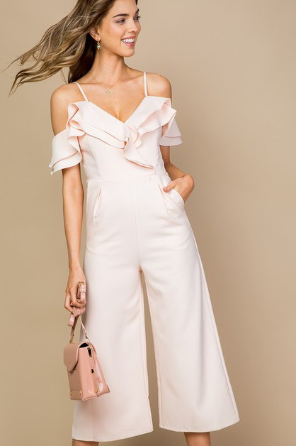 Off Shoulder Tulip Ruffle Jumpsuit - orangeshine.com