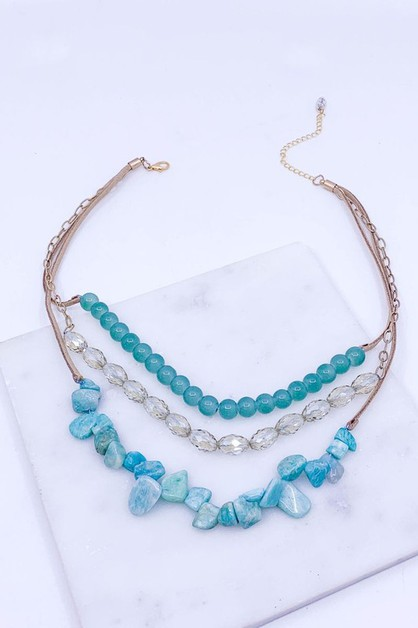 Semi Precious Stone Layered Necklace - orangeshine.com