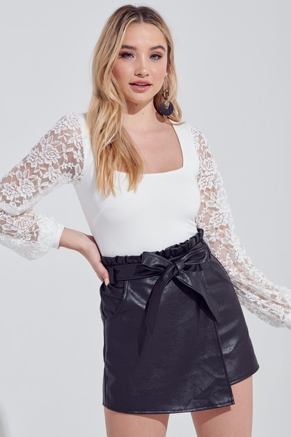 LACE SLEEVE BODYSUIT - orangeshine.com