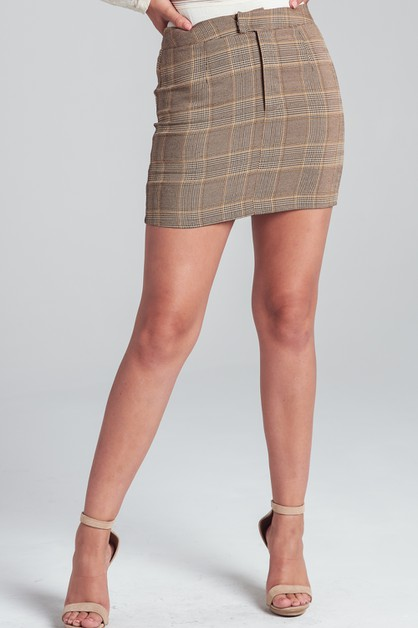 PLAID MINI SKIRT - orangeshine.com
