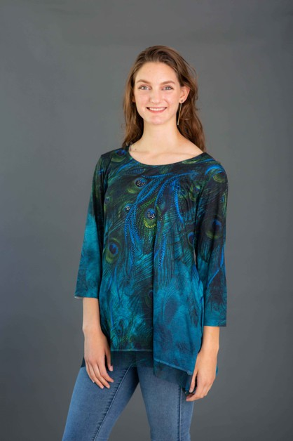 Peacock Shark Bite Tunic - orangeshine.com