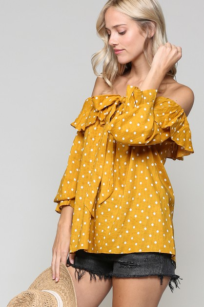 RUFFLED OFF SHOULDER POLKA DOT TOP - orangeshine.com