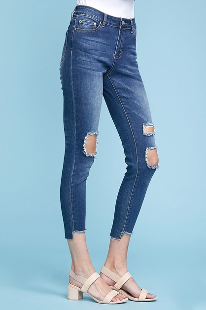 High Waist Ripped Skinny Jeans - orangeshine.com