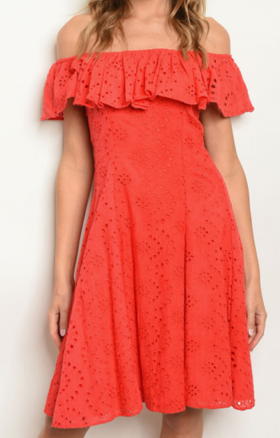 Off Shoulder Eyelet Dress - orangeshine.com