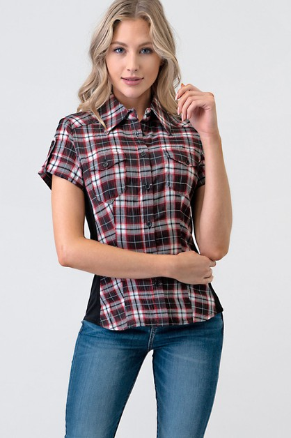 TWO POCKETS CHECK BUTTON-FRONT SHIRT - orangeshine.com