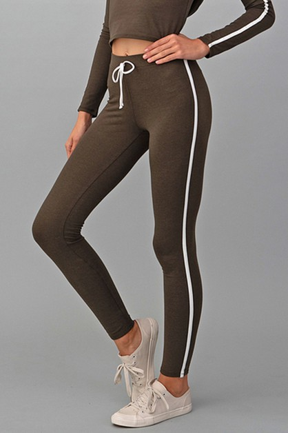 HIGH WAIST CONTRAST SIDE LEGGINGS - orangeshine.com