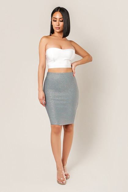 EVELYN Lurex Pencil Skirt - orangeshine.com