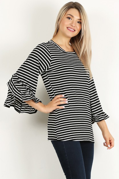 stripe ruffle top - orangeshine.com